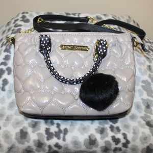 Betsey Johnson Shoulder Bag purse Hearts Black
